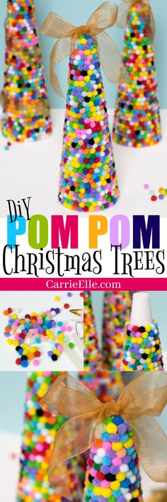 Colorful Pom Pom Christmas Trees