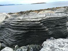 En stor Stein som ligger i fjæra i Porsanger /Veidnes