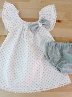Little Girl Polka dots Ruffle Sleeves Dress with cotton lace by Melime Baby
