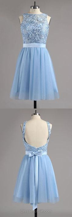 short homecoming dresses,blue homecoming dresse,lace prom dresses,backless short prom dresses,simple homecoming dresses