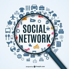 Social networking infographics with magnifier vector - WeLoveSoLo