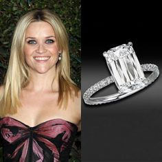 Reese Witherspoon wears a rare four-carat Ashoka diamond engagement ring by William Goldberg. Witherspoon's beau, Jim Toth, spent approximately on the ring. Celebrity Wedding Rings, Celebrity Jewelry, Celebrity Weddings, Emerald Cut Diamond Engagement Ring, Emerald Cut Diamonds, Diamond Cuts, Diamond Rings, Diamond Shapes, Engagement Ring Pictures