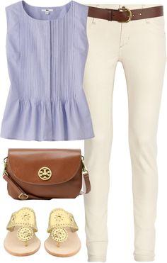 Seersucker peplum top, white skinny jeans, jack Rogers, and Tory burch bag