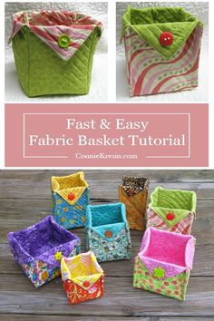 Fabric Baskets Tutorial - Basket Bin - Ideas of Basket Bin - Fabric Basket tutorial is fast and easy to make in all kinds of sizes and fabrics free pattern Sewing Hacks, Sewing Tutorials, Sewing Crafts, Sewing Tips, Sewing Ideas, Fabric Basket Tutorial, Fat Quarter Projects, Leftover Fabric, Sewing Projects For Beginners