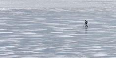 Un #pescatore cammina sul #ghiaccio del fiume Dnepr in una giornata di sole gelido a #Kiev