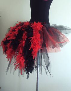 Burlesque Moulin Rouge Tutu Skirt Bustle Feathers size 6 8 10 12 Fancy Dress