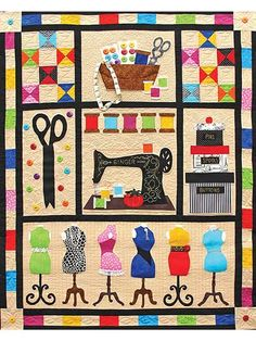 This bright and gorgeous quilt pattern is ideal for anyone who loves applique. It features different representations of the world of quilting and sewing, from dress forms and a vintage sewing machine to scissors and a box of notions. Finished size is...