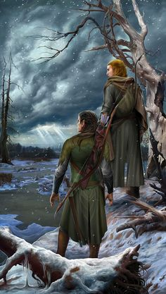 Tuor and Voronwe by steamey:He also found Voronwë, an Elf of Gondolin, who had been a mariner on the last Noldorin voyage to Valinor, saved from the wrath of Osse. Tuor and Voronwë then travelled through the Fell Winter past the Pools of Ivrin, where they caught a glimpse of Tuor's cousin, Turin, wielding Gurthang, and making his way towards the wastes of Dor-lomin.