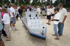 Battleship style cardboard boat