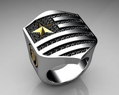 Unique Mens Ring Patriot Shield Ring Sterling Silver with Black Diamonds By Proclamation Jewelry Unique Mens Rings, Rings For Men, Silver Bracelets, Bracelets For Men, Bracelet Designs, Ring Designs, Luxury Gifts For Women, Fashion Rings, Fashion Jewelry