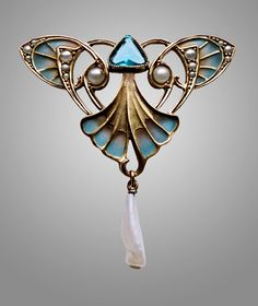 CARL HERMANN Jugendstil Brooch Silver Gilt Plique-à-jour enamel Pearl