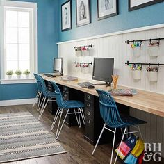 kid homework station in playroom design, kid activity table with wood countertop and file cabinets from ikea, kid space decor in bonus room, kid room design with triple desk kids desk How to Make a Decked-Out Homework Station