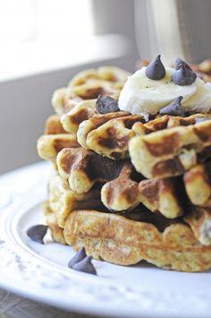 Chocolate Chip Banana Belgium Waffles