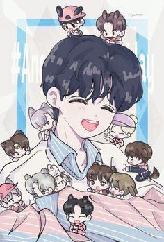 Love Art, My Love, Seventeen Memes, Shared Folder, Bts Chibi, Cute Anime Boy, Kpop Fanart, Purple Roses, Jeonghan