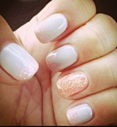 White opaque with peach accent and glitter. Fresh and pretty!