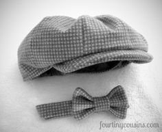 Baby boy wants this!  Baby, Toddler, or Child's Hat and bow tie - Newsboy Style Hat in Gray Houndstooth with matching bow tie