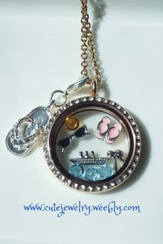 Summer or Vacation Floating Locket from South Hill Designs!  Love those flip-flop charms!