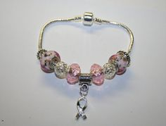 Pink Beaded Breast Cancer Charm Bracelet by TheSisters3Boutique, $19.99