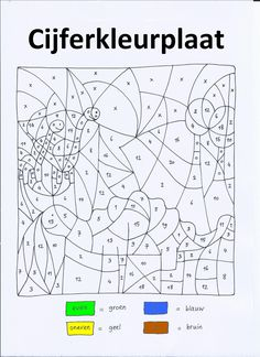 Cijferkleurplaat 'dino' met even/oneven (getallen tot 20) voor kleuters met een ontwikkelingsvoorsprong en voor groep 3-4