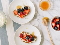 Delicious Ricotta Berry Toast! All The Way Down, Ricotta, Berry, Panna Cotta, Waffles, Breakfast Recipes, Toast, Foods, Ethnic Recipes