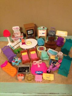 Barbie Furniture Lot with Accessories Bed Bath Table Bike Baby TV More | eBay