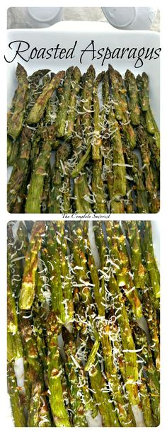 Roasted Asparagus ~ The Complete Savorist Less is more, simply roasted asparagus with lemon zest, salt, and pepper, and garnished with fresh parmesan.