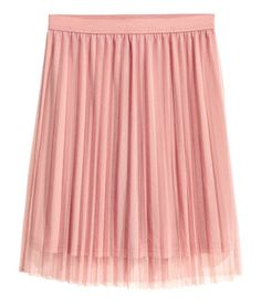 Dusty pink. Knee-length, pleated skirt in tulle with an elasticized waistband. Lined.