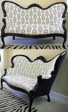 Vintage Furniture Before and After: Antique Settee Restoration Victorian Furniture, Funky Furniture, Furniture Makeover, Antique Furniture, Geek Furniture, Pallet Furniture, Furniture Ideas, Furniture Design, Outdoor Furniture