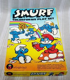 Smurfs Colorforms Play Set by Peyo 1981. Create your own https://www.etsy.com/listing/516535094/smurfs-colorforms-play-set-by-peyo-1981#friendsretro?utm_campaign=crowdfire&utm_content=crowdfire&utm_medium=social&utm_source=pinterest #etsy #smurfs #smurf #colorforms