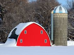Silo and Red Barn in Winter