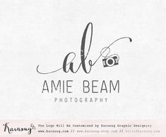 Initial Logo, Camera logo, Photography Logo, Custom Logo, Premade Logo, Custom Watermark, Custom Branding, Photography Logo Design