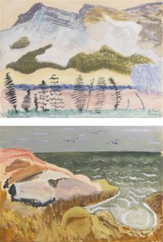 Mountain Landscape and Ocean with Gulls: A Double-sided Watercolor by Milton Avery in American Paintings, Drawings and Sculpture on June 2016 at the null null sale lot 7 Mountain Landscape, Landscape Art, Landscape Paintings, Mark Rothko, Art And Illustration, Henri Matisse, Painting & Drawing, Watercolor Paintings, Mountain Paintings