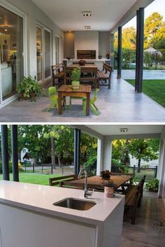 Exterior Gallery Architecture Design of a beautiful Modern Style House in Buenos Aires, Argentina House Front Design, Modern House Design, Modern Bungalow House, Dream House Exterior, Cafe Exterior, Colonial Exterior, Cottage Exterior, Backyard Patio Designs, Dream Home Design