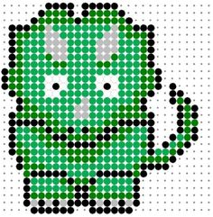 Cute Green Tricerotops Perler Bead Pattern