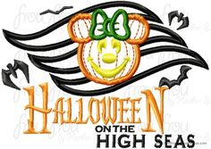 Halloween on the Seas Dis Cruise Line Symbol with Pumpkin Miss Mouse Head With AND without wording Machine Applique Embroidery Design, Multiple Sizes, including  4 inch, $3.75
