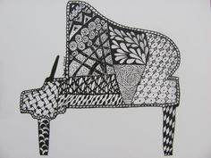 """by Jacki Fry Brewer. A Zentangle I call """"Piano Grande."""" I found grand piano clip art, traced the image and tangled it. Gave it to my boss who turned 60 this year and who also plays the piano."""