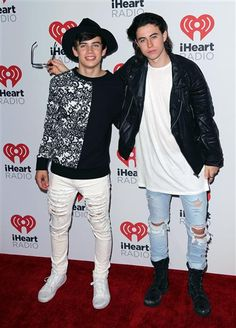 Hayes Grier and Nash Grier attend the 2015 iHeartRadio Music Festival on Sept. 18, 2015 in Las Vegas, Nevada.