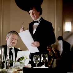 SHERLOCK (BBC) ~ Season 3, Episode 1: The Empty Hearse. Sherlock in disguise as a French waiter. [Video/GIF)