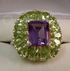 Green and Purple ring - vintage