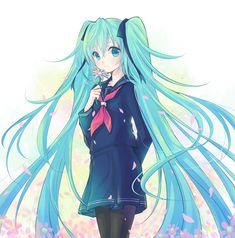 Image 4315: fleur fleurs hatsune_miku poshi:artist uniforme uniforme_scolaire