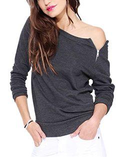 Choies Women's Cotton Gray Off Shoulder Zipper Loose T-shirt S Choies