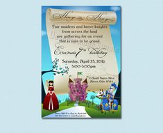 Medieval Knight Princess and Castle Birthday Party Invitation - Printable