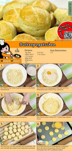 Butter scones recipe with video. Detailed steps on how to prepare this easy and simple Butter scones recipe! Dog Recipes, World Recipes, Tasty, Yummy Food, Hungarian Recipes, No Sugar Foods, Snacks, No Cook Meals, Scones