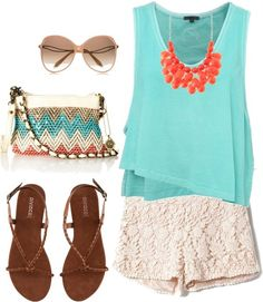 aqua shirt and lace white shorts   CLICK THIS PIN if you want to learn how you can EARN MONEY while surfing on Pinterest
