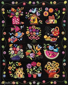 Summertime wool applique quilt pattern by Erica Kaprow, shown at A Quilt and a… Wool Applique Quilts, Wool Quilts, Wool Embroidery, Felt Applique, Applique Patterns, Quilt Patterns, Machine Applique, Penny Rugs, Quilt Making