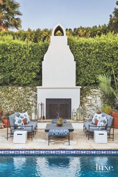 Freestanding Outdoor Fireplace and Seating Area