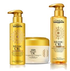 L'Oréal mythic oil shampoo and conditioner collection. Mythic Oil shampoo, conditioner and masque use powerful oils to balance hair leaving it cleansed at the root and nourished at the ends for a weightless finish.