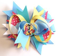 Boutique Disney Princess Inspired Snow White Cinderella Aurora Ariel Jasmine Hair Bow Clip w Planar Resin Center by prettybowtique on Etsy