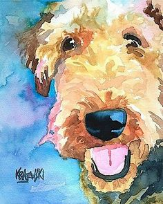 Airedale Terrier 8x10 Signed Art Print from Painting | eBay