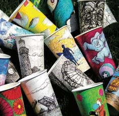 Mike Ciccotello has donated more than 150 cups as part of The Coffee Cup Doodle Project, which raises money for non-profits. Note to self: get this issue of Art ists & Makers magazine!